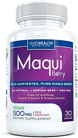 All-Natural Pure Maqui Berry Supplement - High Quality Superfood Full of Potent Antioxidants and Phytonutrients - Vegan Friendly, Vegetarian Safe and No Added Preservatives - 500mg, 30 Capsules