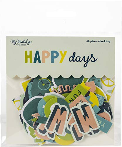 (My Minds Eye HPD116 Happy Days Mixed Bag Cardstock Die-Cuts 60/Pkg)