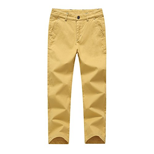 KID1234 Boys Pants - Boys Chino Pants,Adjustable Waist Pants Boys 4-12 Years,6 Colors to Choose,Best Family Dinner Yellow ()