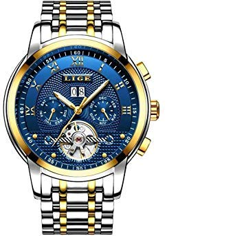 Relojes Hombre,LIGE Relojes de Pulsera Reloj Mecánico Automático Correa de Acero Inoxidable Impermeables Qro Azul