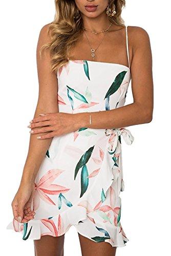 Jennyarn Ladies Retro Dress Printed Ruffle Hem Cold Shoulder A Line Swing Dress M