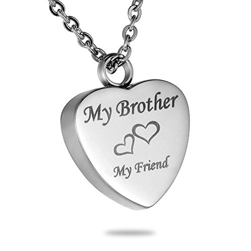 MEMORIALU Urn Necklaces for Ashes Cremation Jewelry Keepsake Memorial Brother My Friend Heart - Bullet Shaped Pendant