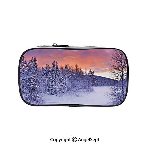 Bag Pen Case Felt Students Stationery Pouch Zipper Bag,Frozen River in a Wintry Landscape Finnish Lapland at Sunrise Arctic Nordic Countries Decorative 5.1inches,for Pens,Pencils,and Other School Su -