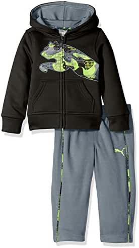 PUMA Baby Boys' 2-Piece Tech Fleece Hoodie Wrapped Cat and Pant Set