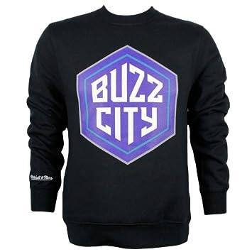 Mitchell & Ness Charlotte Hornets Buzz City Logo Crew esquina NBA Sudadera Negro, negro