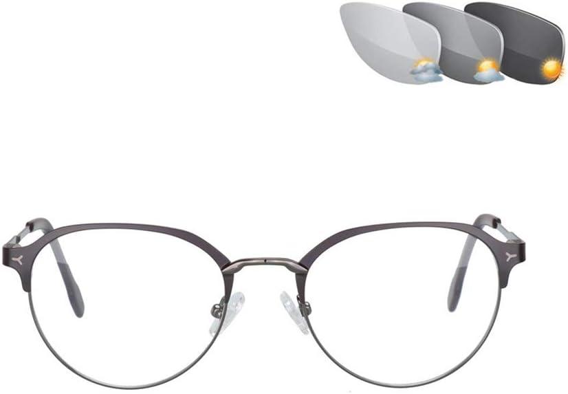 Eyedpe Transición Fotocrómica Progresiva Gafas de Lectura Sin línea Gradual + RX Perspectiva Gafas de Sol 0 a +400 por incrementos de 25,Browngray,+2.75