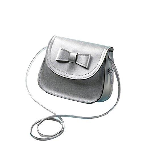 Crossbody Handbag Bag Bow Buckle Bag Girls Hand Women knot Ladies Bag Handbags Silver Holder Zipper amp; Shoulder Artificial Leather Shoulder Black Bags Transer® Clamshell Card nZ1wO