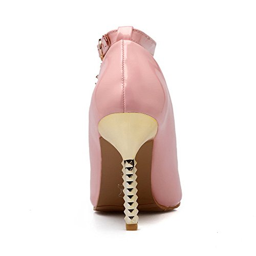 Women's Leather Toe Patent Pumps WeiPoot Spikes Solid Buckle Stilettos Closed Shoes Pointed Pink dFwOfOq8