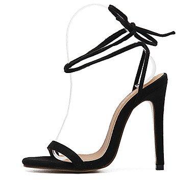 Señoras Sandalias de tacón para mujer verano Club vestido de forro polar zapatos stiletto talón cordones negro rojo beige Almond