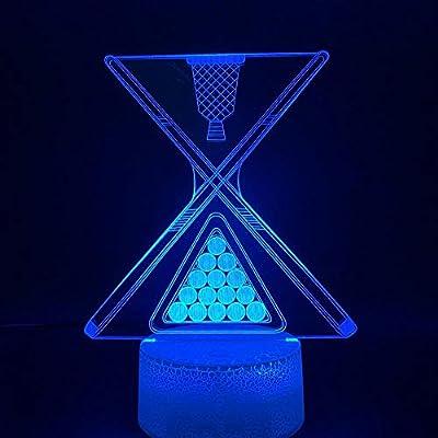 ZYBZYB 3D Lámpara de óptica ilusión Snooker Bola de billar Led Luz de noche para Club Bar Contador Atmósfera Luz de noche Batería Mesa USB: Amazon.es: Iluminación