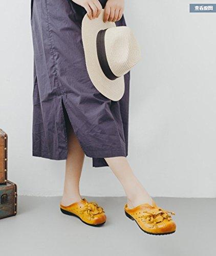 Amarillo Piscina SCLOTHS flat Fiori Infradito Retrostyle Pelle confortevole Donna artificiale fondo morbido T6U6fx