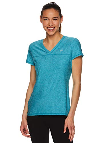 HEAD Women's Short Sleeve Workout T-Shirt - Performance Tennis Crew Neck Activewear Top - Lake Blue Heather, Large
