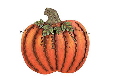 Metal Pumpkin Decoration for Home Free Standing Metal Flat Pumpkins for Fall Harvest DecorThanksgiving Halloween Outdoor Decoration - (18''H)