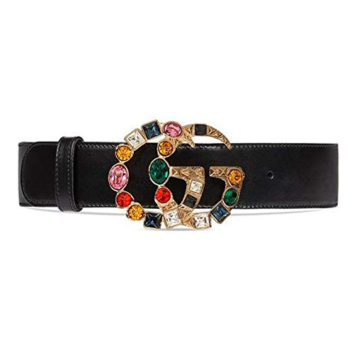 b61c4305974 GG Gucci Replica Belt for Women Gold Buckle Black Leathe Fake Replicas Belts  Womens Faux (