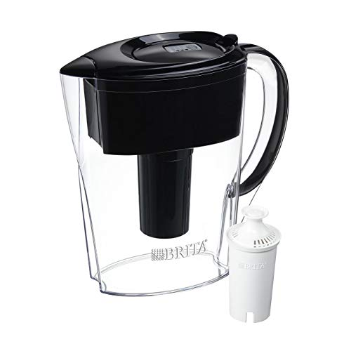Brita Space Saver Water Filter Pitcher with 1 Standard Filter, Black, 6 Cup – 60258360363