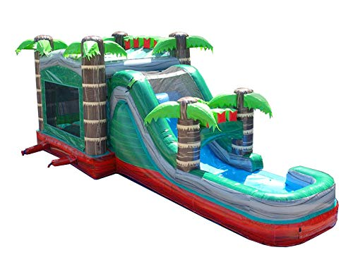 Mega Tropical Red Marble Single Lane Wet or Dry Slide & Bounce House Combo, 32-Foot Long by 16-Foot Wide by 16-Foot Tall, Commercial Grade Inflatable, Blower and Stakes ()