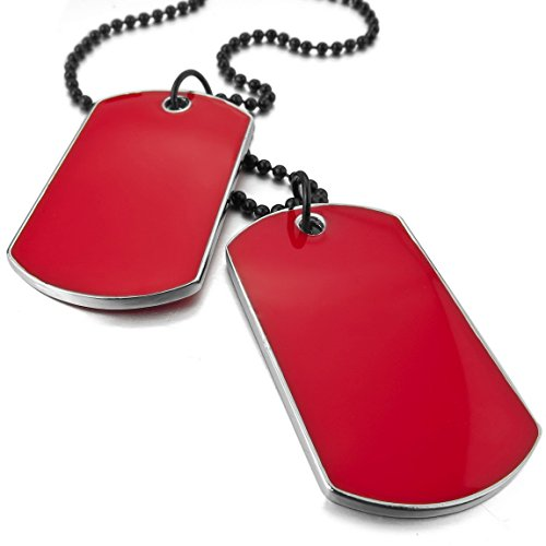 Double Dog Tag Necklace - INBLUE Men's 2 PCS Alloy Enamel Pendant Necklace Red Army Name Double Dog Tag 27 Inch Chain