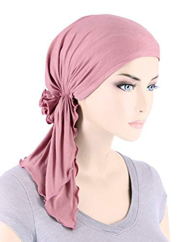 The Bella Scarf Lux Ultra Soft Bamboo Chemo Cancer Turban Head Scarves Pre-Tied French Rose Pink