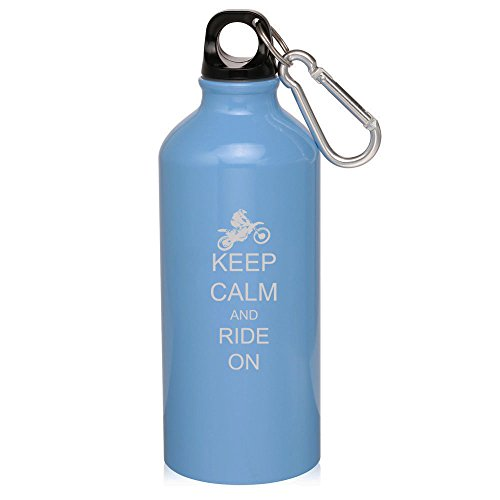 Light Blue Dirt Mx Bike Keep Calm Ride On 20Oz Aluminum Sports Water Bottle Canteen Clip Keep Calm Ride On Dirt Mx Bike by Sport bottle