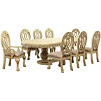 HOMES: Inside + Out IDF-3186WH-T-9PC Aragon 9 Piece Formal Dining Table Set, White