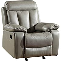 GU Industries 9361-CH-GRAY Leather Recliner Living Room Chair, Gray