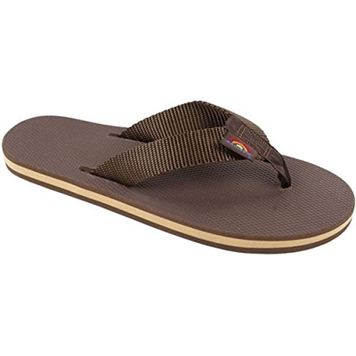 Rainbow Womens The Classics Single Layer Classic Rubber with a Nylon Strap Sandal, Brown, Medium - Rainbow Classic Rubber