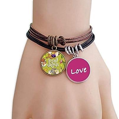 Metftus Raw vegan Vegetables Potato Tomato Love Bracelet Leather Rope Wristband Couple Set Estimated Price -
