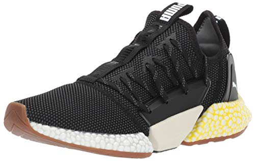 PUMA Men's Hybrid Rocket Runner Sneaker Black White-Blazing Yellow, 14 M US