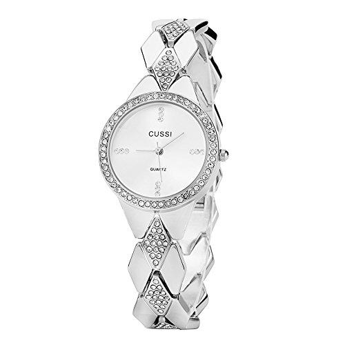 Ladies Crystal Bracelet Dress Wrist Watch for Women - Female (Ladies Silver Bracelet Watch)