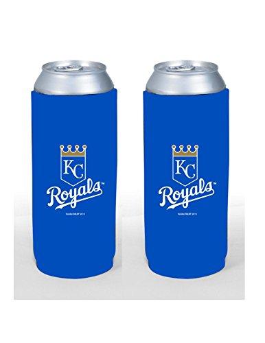 MLB Baseball Team Color Logo Tall Boy 24oz Neoprene Can Holder Sleeve Cooler 2-Pack (Kansas City Royals) ()