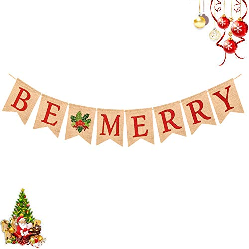 BUSOHA Christmas Banner - BE Merry Banner Red Letters Natural Burlap Swallow-Tailed Holly Fruit Leaf Hanging Sign Christmas Holiday Decoration Banner