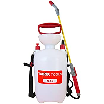 TABOR TOOLS 1.3 Gallon Lawn and Garden Pump Pressure Sprayer for Herbicides, Pesticides, Fertilizers, Mild Cleaning Solutions and Bleach, includes Shoulder Strap, Enjoy our 12 Months Guarantee!