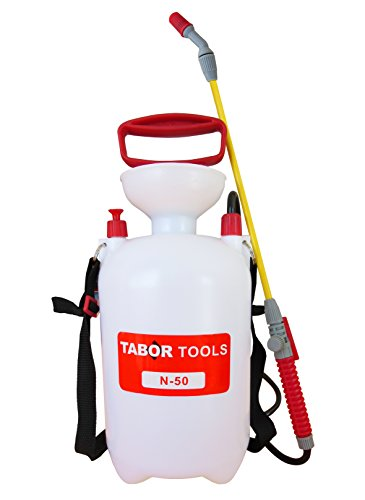 (TABOR TOOLS N-50, 1.3 Gallon Lawn and Garden Pump Pressure Sprayer for Herbicides, Pesticides, Fertilizers, Mild Cleaning Solutions and Bleach, Includes Shoulder)