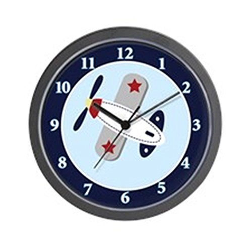 CafePress - Airplane Aviator 10-inch Black Frame Wall Clock - Unique Decorative 10'' Wall Clock by CafePress