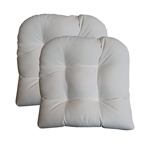 - RSH Decor Set of 2 - Universal Tufted U-shape Cushions for Wicker Chair Seat - Sunbrella Canvas White (1100)