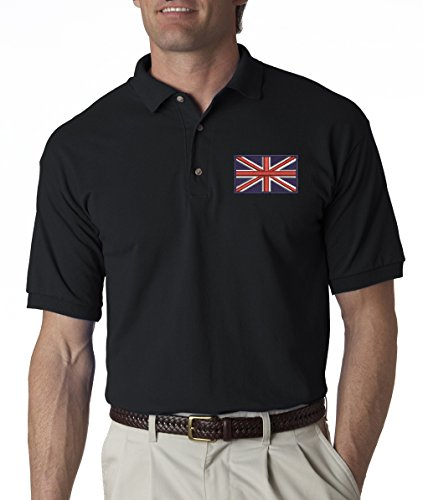 A2S British Flag Britian Pride Embroidered Polo Shirt S-3XL 8 Colors - Black - -