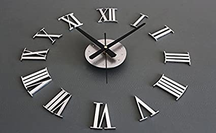 DIY Luxury 3D Wall Clock Large Size Home Decoration Art Clock Silver Clock Watch Wall Clocks