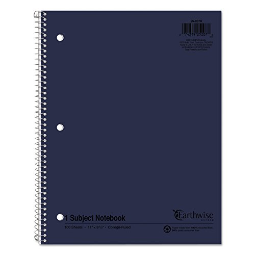Earthwise by Oxford 25207 Recycled 1-Subject Notebooks, 11 x 8 1/2, WE, 100 SH