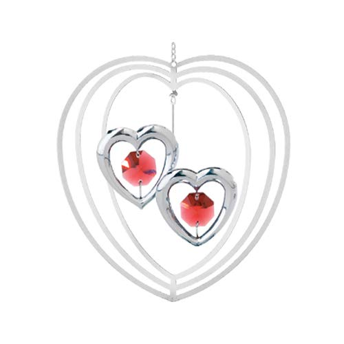 Valentine Suncatcher - Ruby Red Swarovski Crystal & Silver Two Hearts Ornament or Suncatcher with Stand