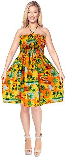 LA LEELA Soft  Printed Hawaiian Tube DressLuau Length Knee Orange 845 One Size