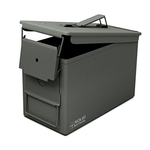 Solid Tactical New 50 Cal Metal Ammo Can in OD Green, Military and Army M2A1 All-Metal Box for Ammunition and Storage