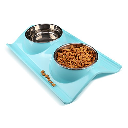Miaosun Double Stainless Steel Dog Cat Bowls with Non-spill Design, for Pet Food and Water Feeder (blue)