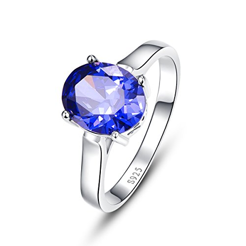 Bonlavie Women's 4.3ct Oval Cut Created Blue Tanzanite Sterling Silver Engagement ring