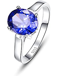 Women's 4.3ct Oval Cut Created Blue Tanzanite 925 Sterling Silver Ring Wedding Engagement Ring