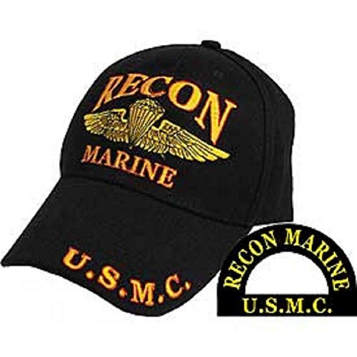 Recon Marine - AES Marines Marine Corps EGA Recon USMC Black Red Gold Embroidered Cap Hat