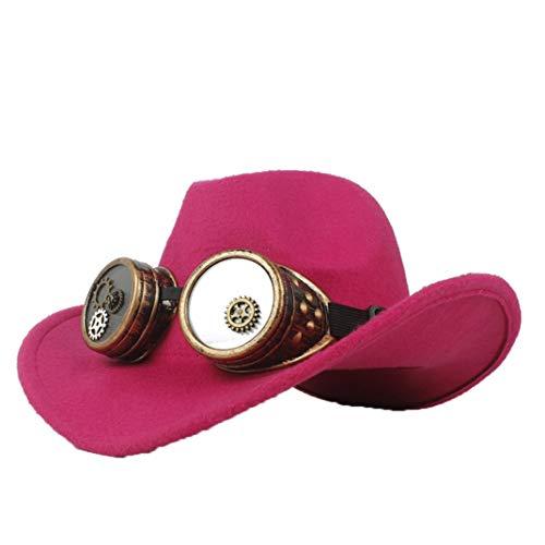 (ASO-SLING Men's Faux Felt Western Cowboy Hat Wide Brim Steampunk Outback Hat Fedora Jazz Cap Rose Red)