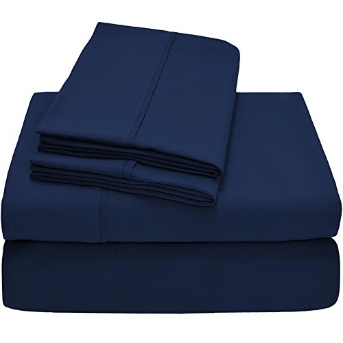 Twin XL Sheet Set, Twin Extra Long, 3-Piece Ultra-Soft Premium Bed Sheets/Navy Blue