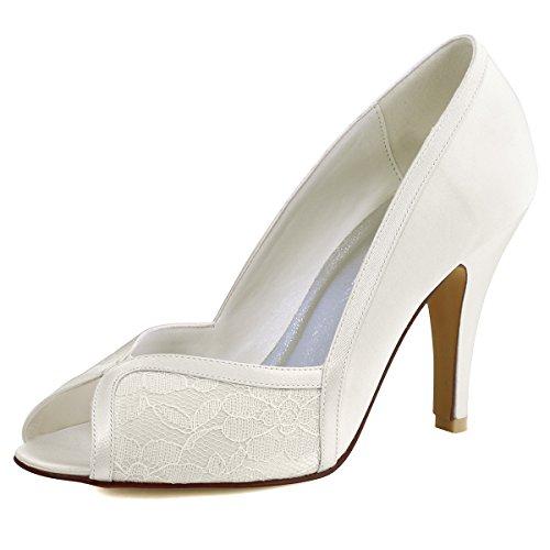 ElegantPark HP1617 Women Peep Toe High Heel Pumps Satin Lace Wedding Bridal Shoes Ivory US 8