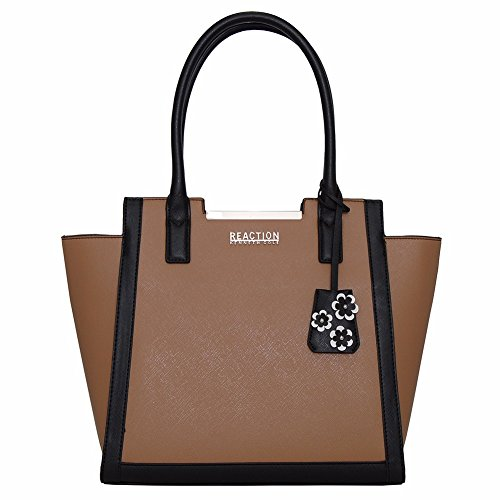 Kenneth Cole Reaction KN1939 Cheerleader Womens Tote, Shopper Handbag (COGNAC/BLACK)