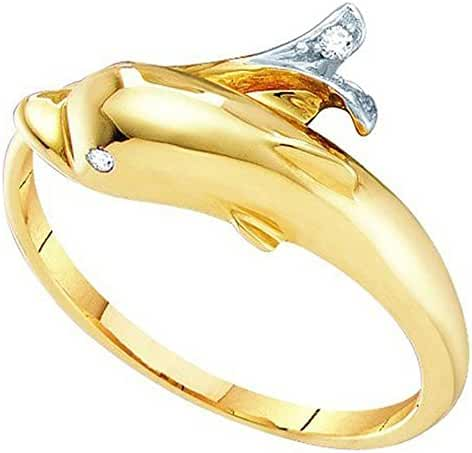 0.03 Carat (ctw) 10K Yellow Gold Round Cut White Diamond Ladies Right Hand Dolphin Ring